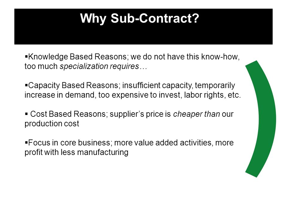 Why Sub-Contract h Knowledge Based Reasons; we do not have this know-how, too much specialization requires…