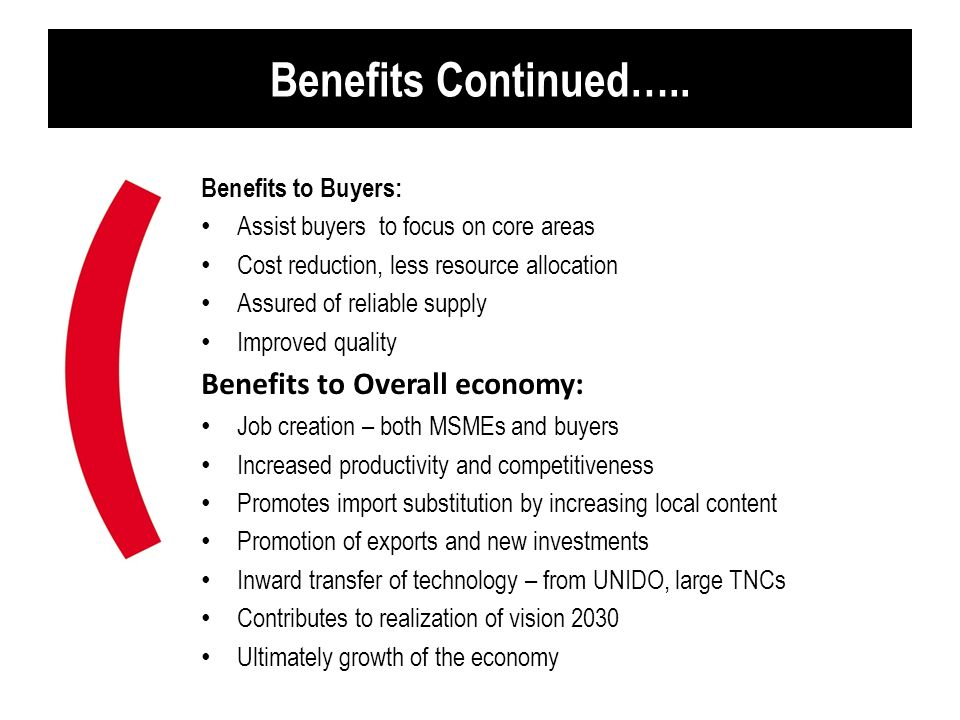 Benefits Continued….. Benefits to Overall economy: Benefits to Buyers: