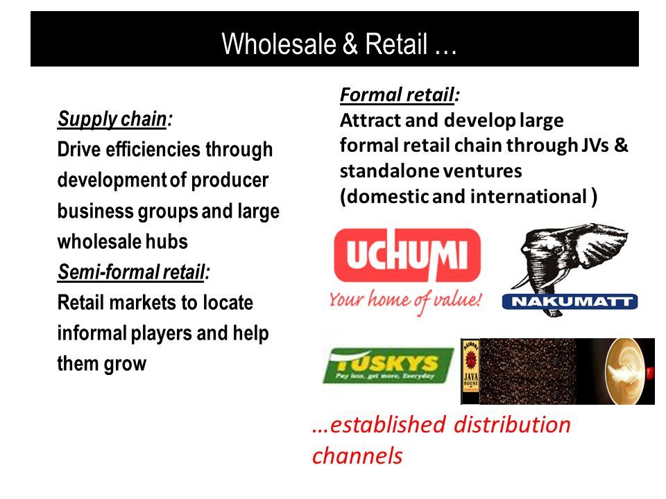 Wholesale & Retail … …established distribution channels Formal retail: