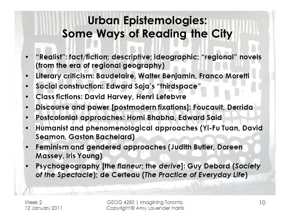 Urban Epistemologies: Some Ways of Reading the City