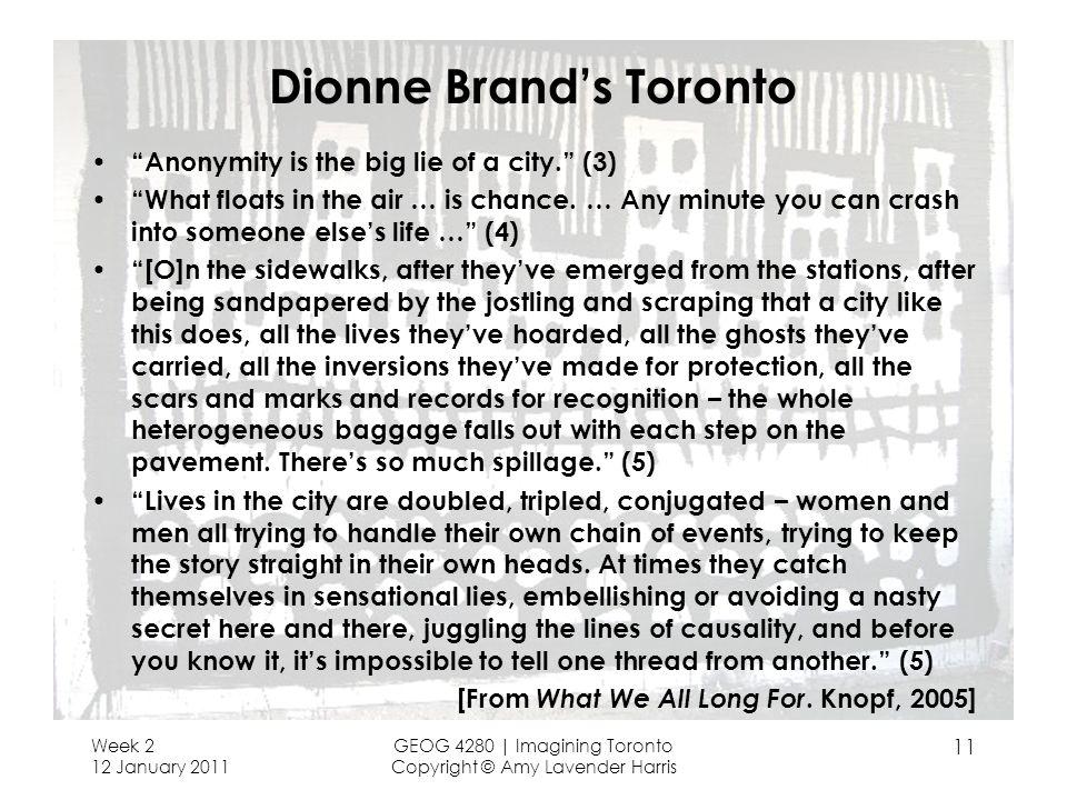 Dionne Brand's Toronto