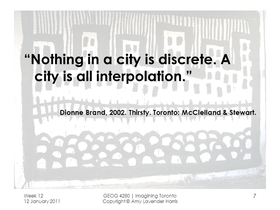Nothing in a city is discrete. A city is all interpolation.