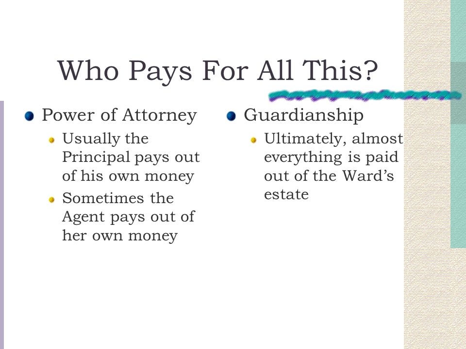 Who Pays For All This Power of Attorney Guardianship