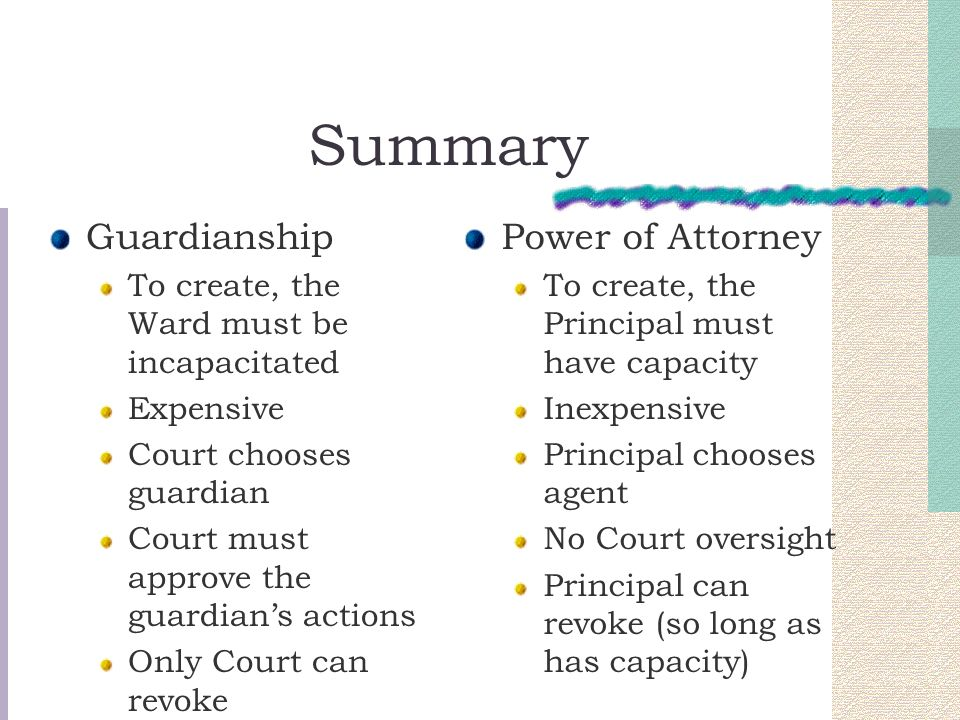 Summary Guardianship Power of Attorney