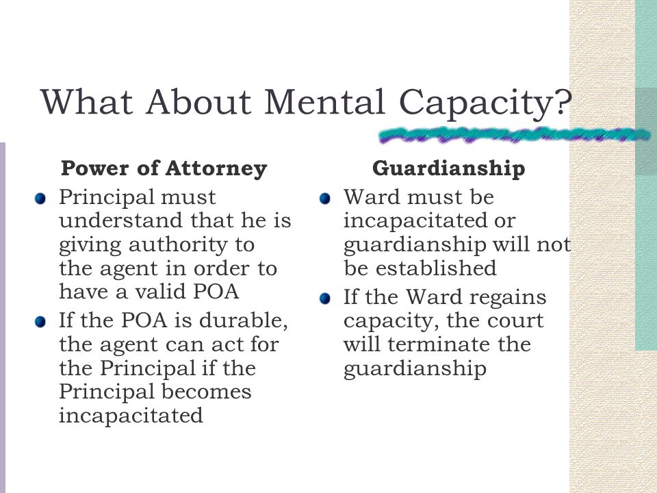What About Mental Capacity