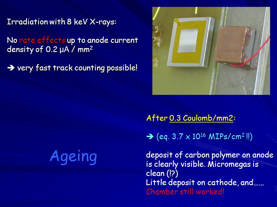 Irradiation with 8 keV X-rays: No rate effects up to anode current density of 0.2 μA / mm2  very fast track counting possible!