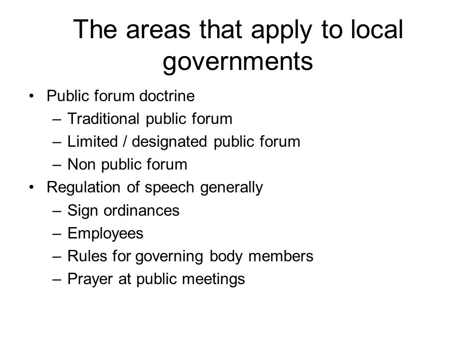 The areas that apply to local governments