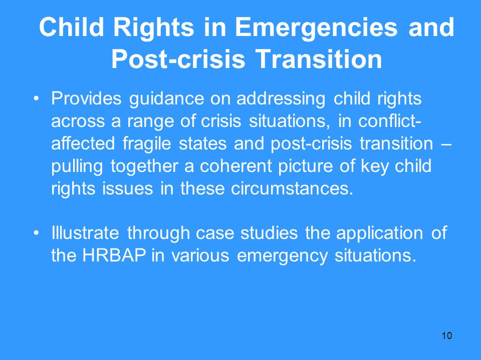Child Rights in Emergencies and Post-crisis Transition