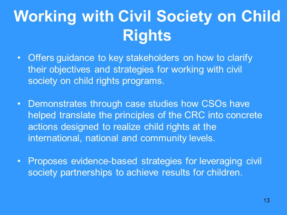 Working with Civil Society on Child Rights