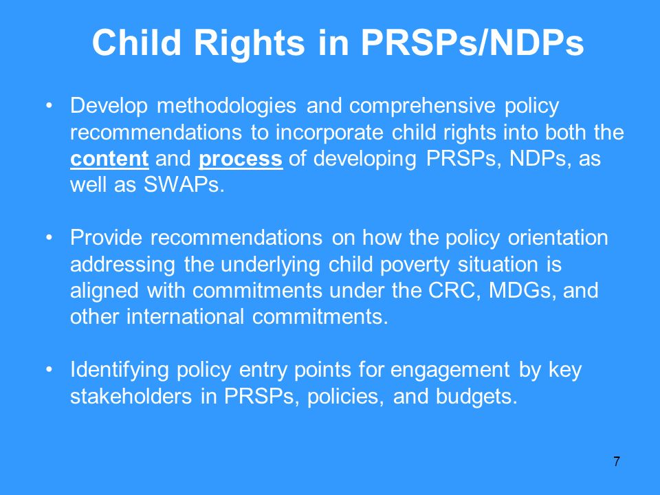 Child Rights in PRSPs/NDPs