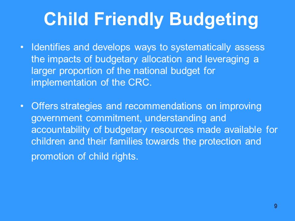 Child Friendly Budgeting