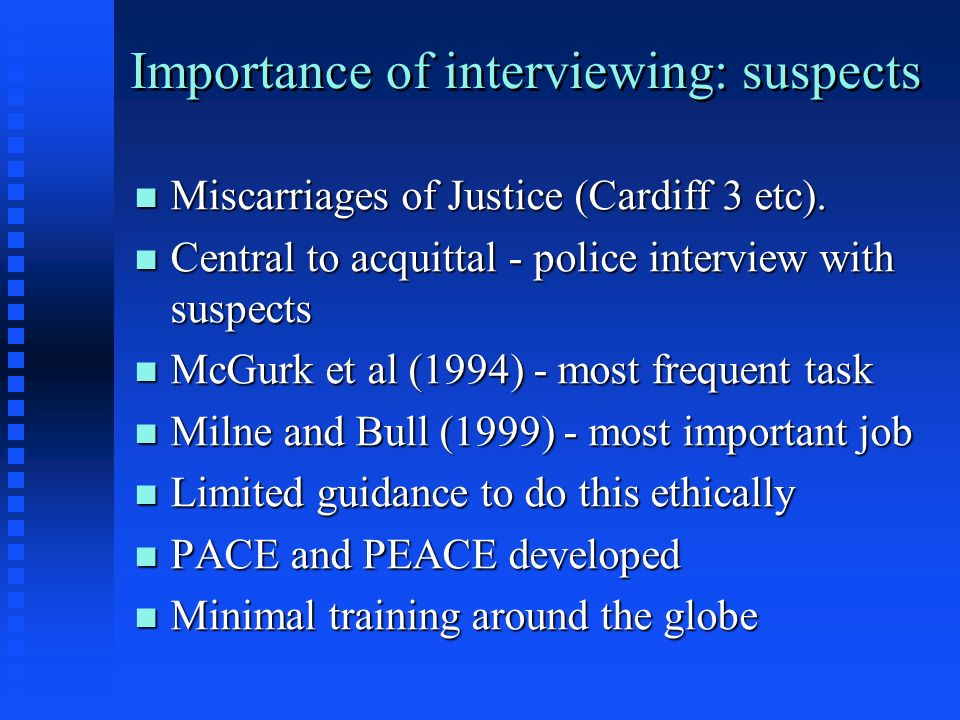 Importance of interviewing: suspects