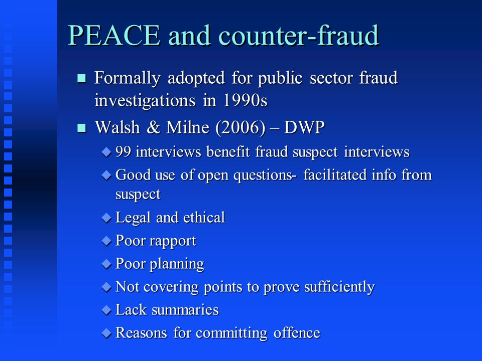 PEACE and counter-fraud