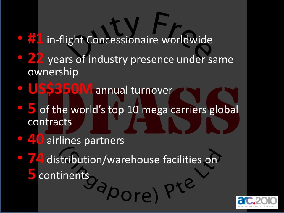 #1 in-flight Concessionaire worldwide