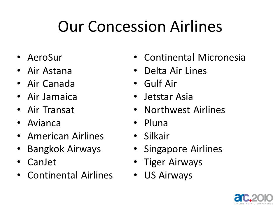 Our Concession Airlines