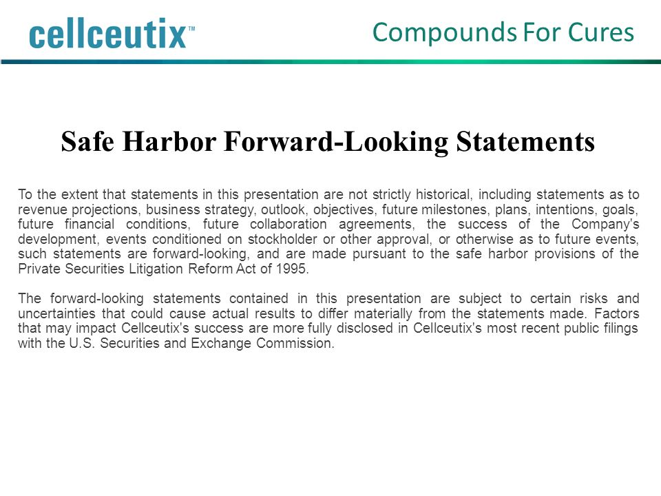 Safe Harbor Forward-Looking Statements