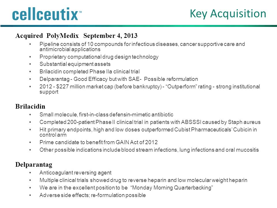 Key Acquisition Acquired PolyMedix September 4, 2013 Brilacidin