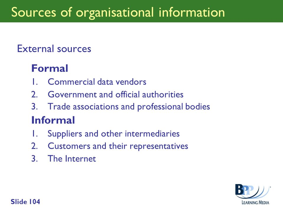 Sources of organisational information