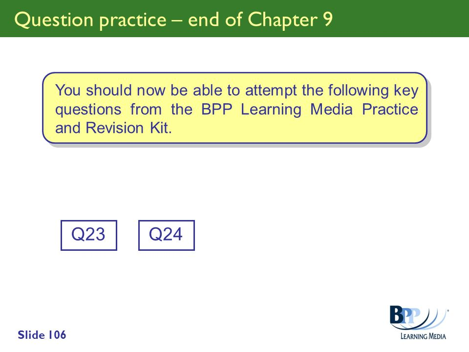 Question practice – end of Chapter 9