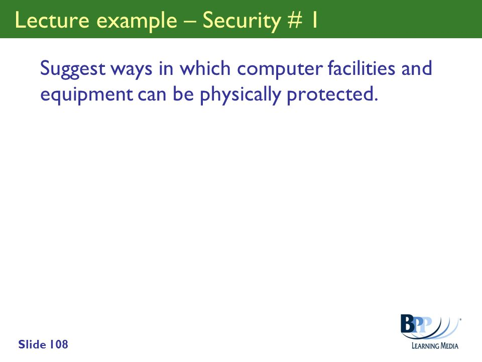 Lecture example – Security # 1
