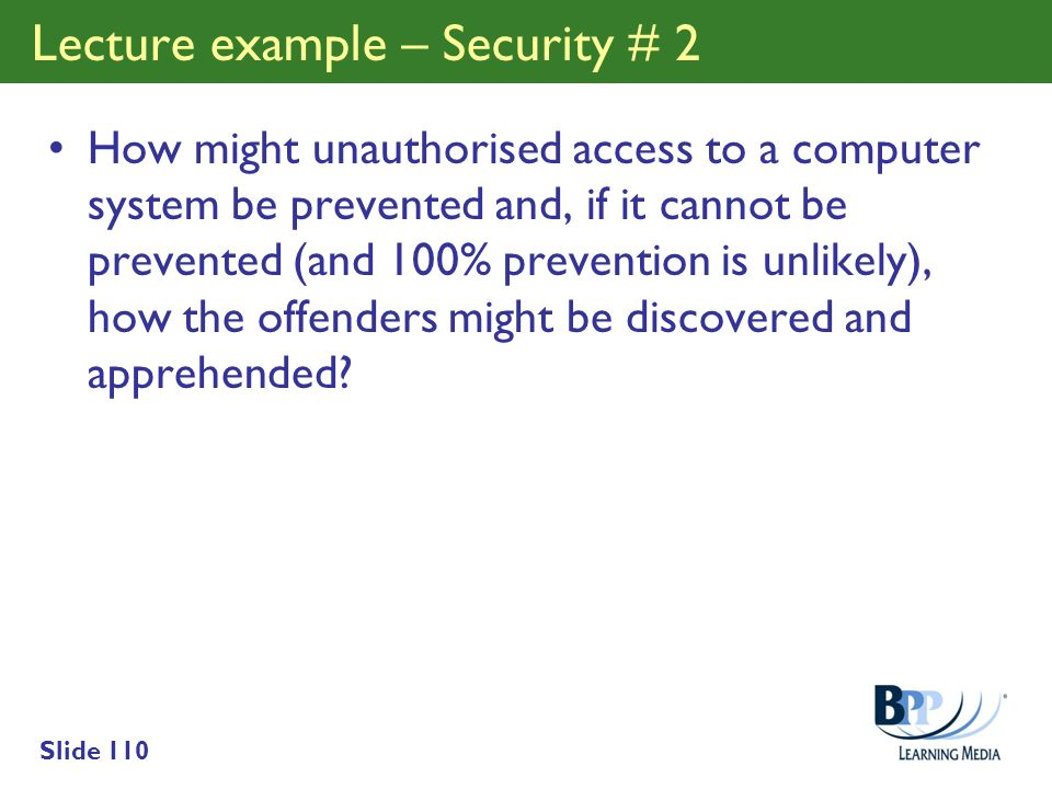 Lecture example – Security # 2