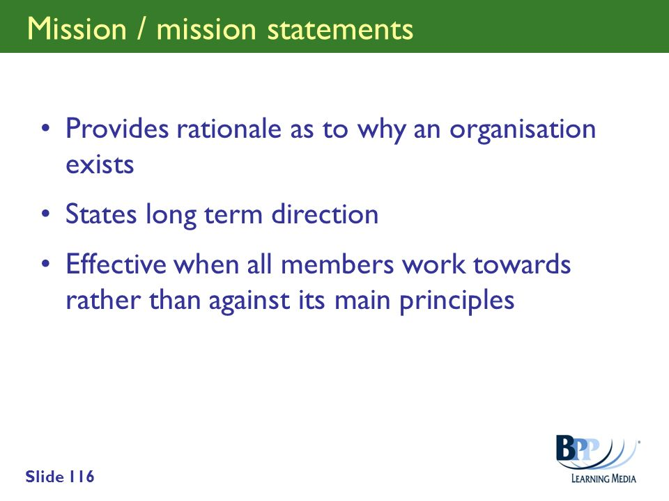 Mission / mission statements