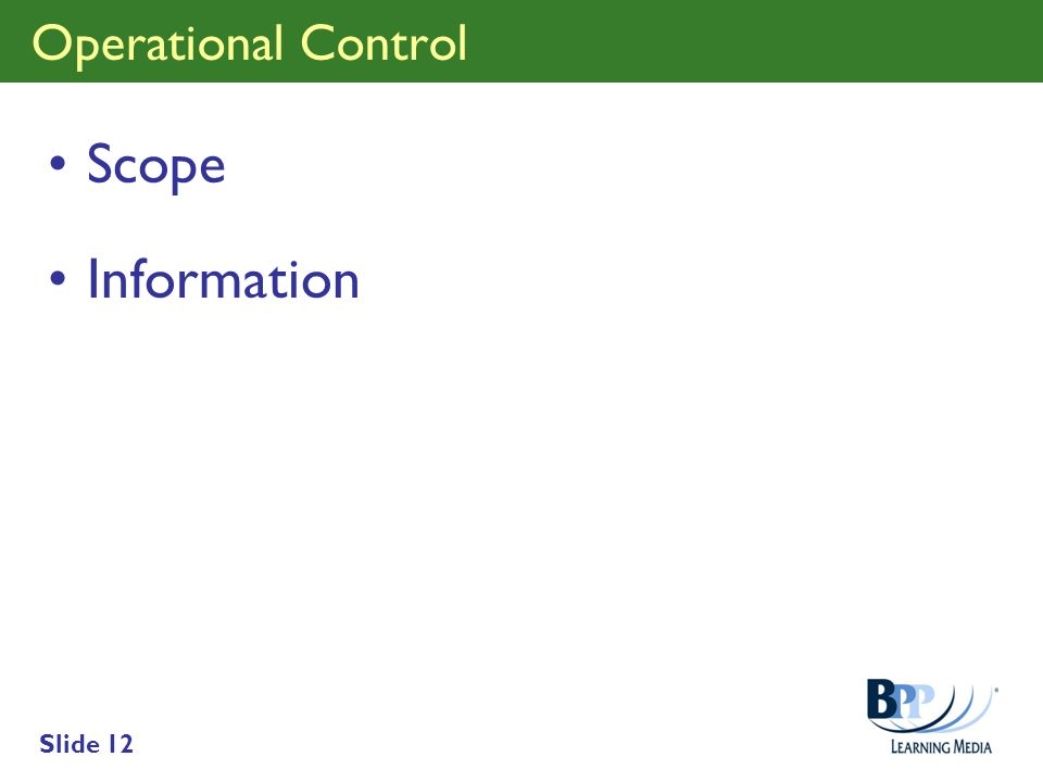 Operational Control Scope Information