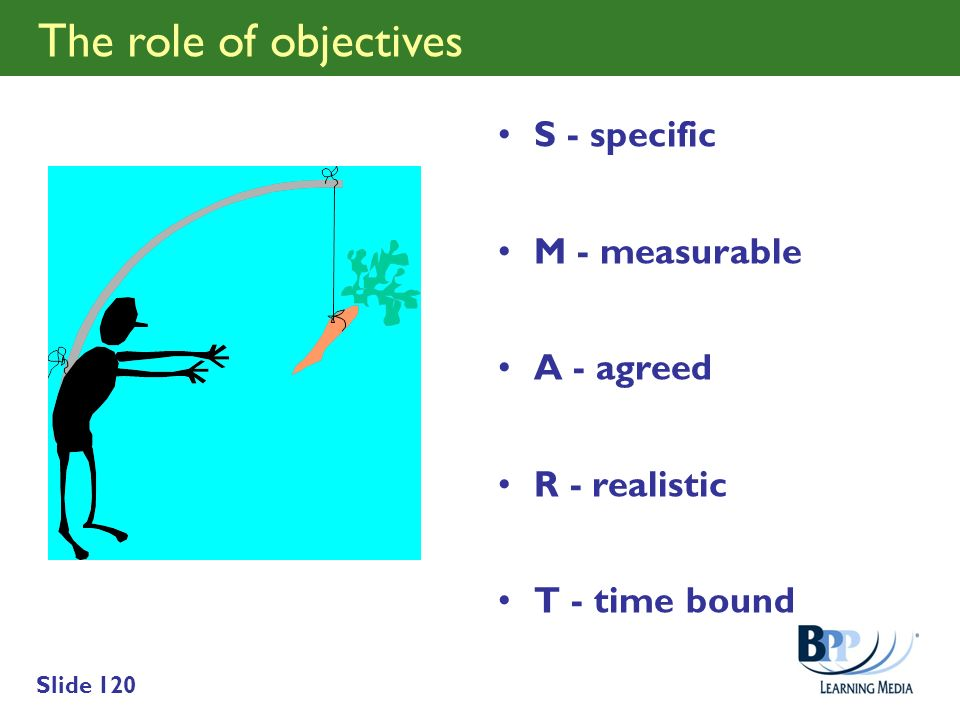 The role of objectives S - specific M - measurable A - agreed