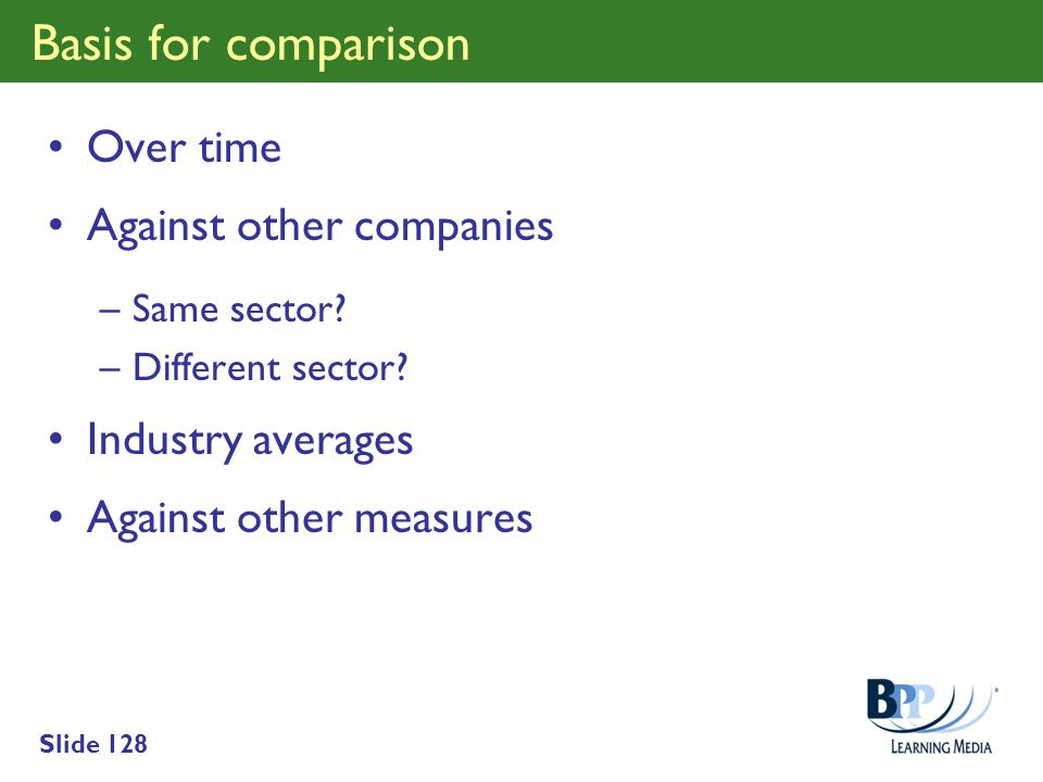 Basis for comparison Over time Against other companies