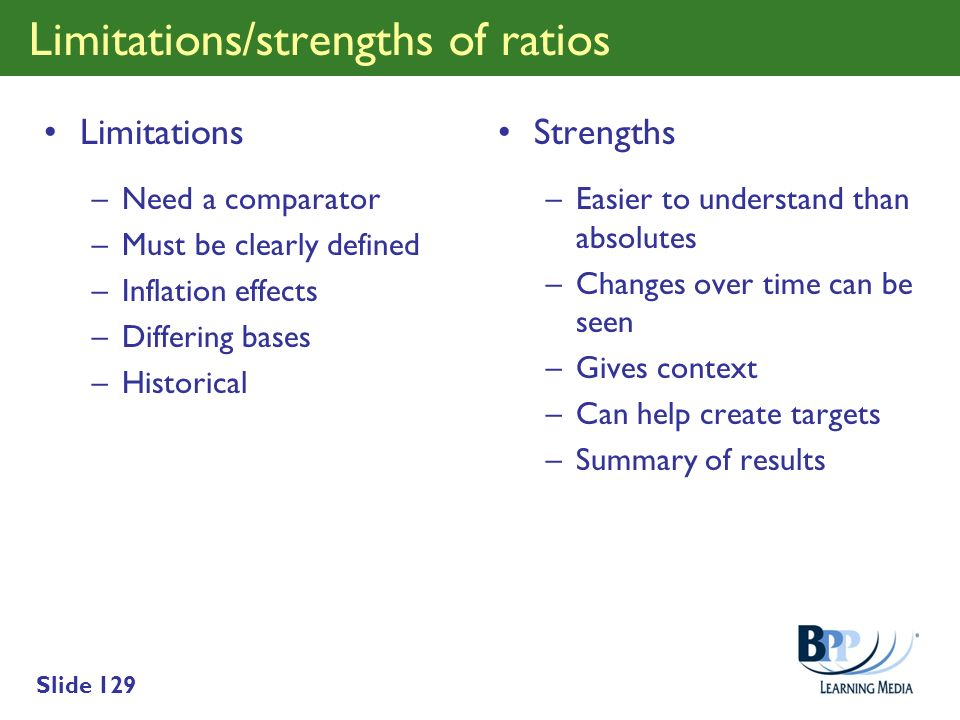 Limitations/strengths of ratios