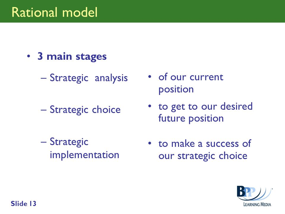 Rational model 3 main stages Strategic analysis