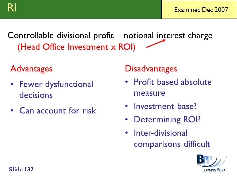 RI Controllable divisional profit – notional interest charge