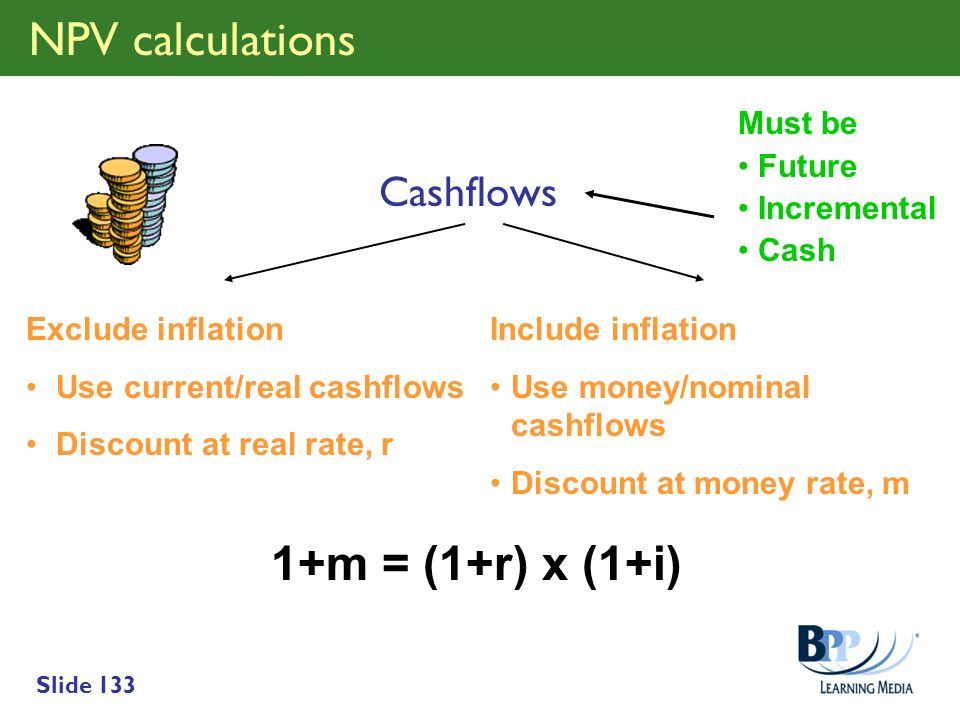 NPV calculations 1+m = (1+r) x (1+i) Cashflows Must be Future