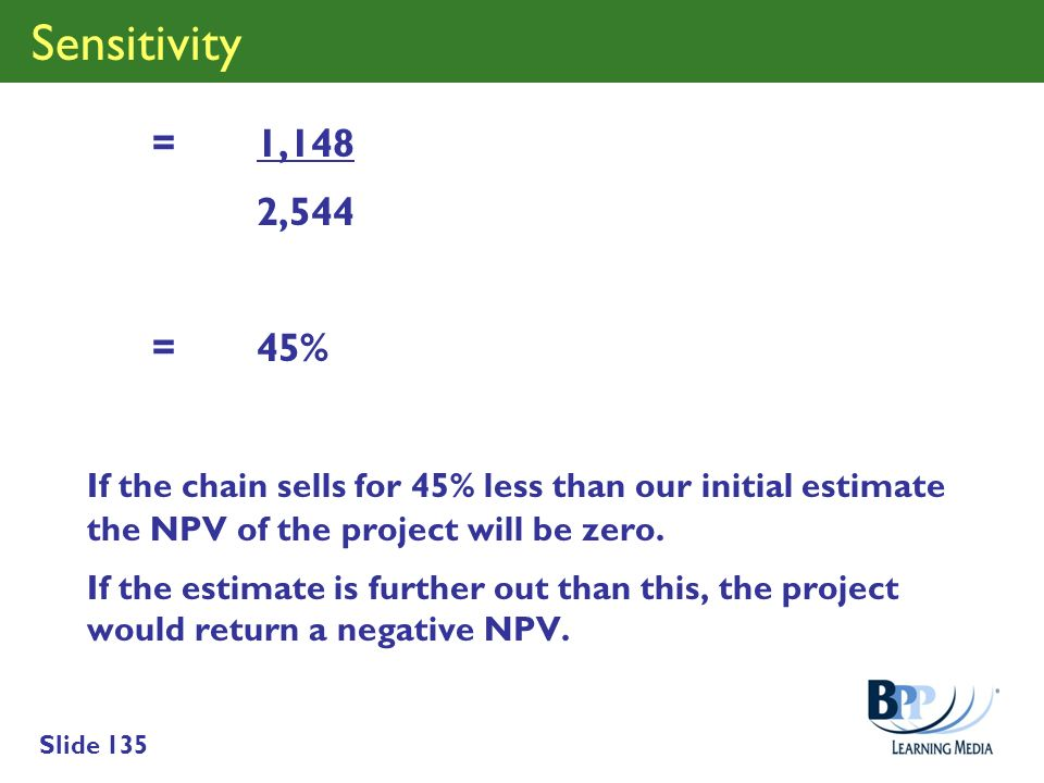 Sensitivity = 1,148. 2,544. = 45% If the chain sells for 45% less than our initial estimate the NPV of the project will be zero.