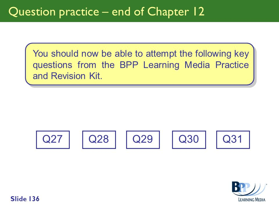 Question practice – end of Chapter 12