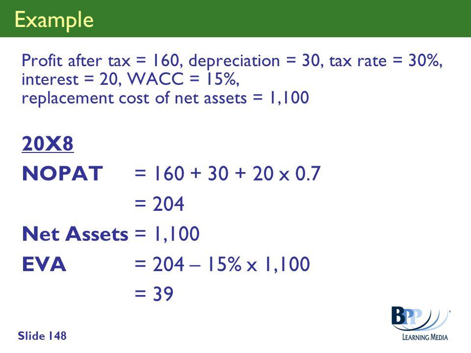 Example 20X8 NOPAT = 160 + 30 + 20 x 0.7 = 204 Net Assets = 1,100