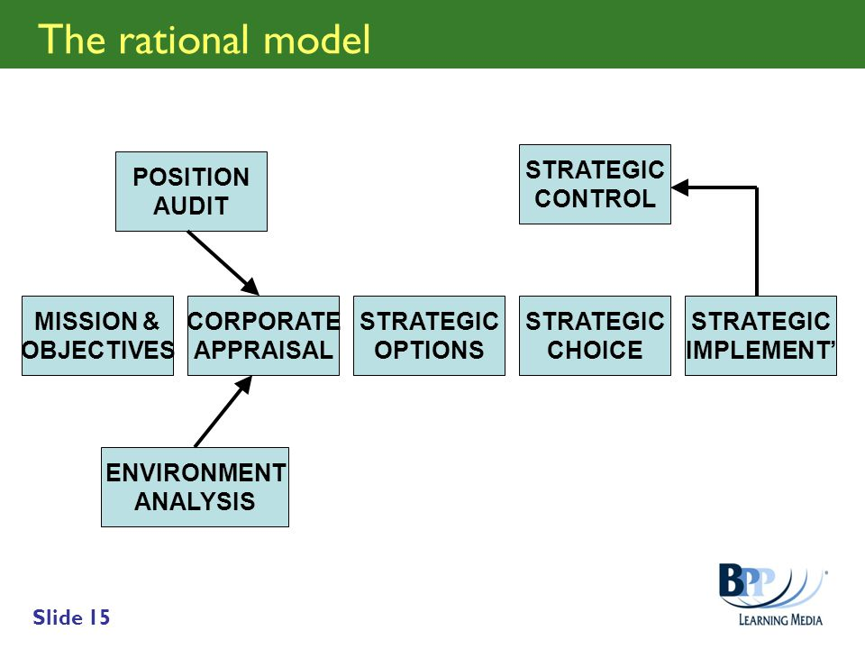 The rational model STRATEGIC CONTROL POSITION AUDIT MISSION &