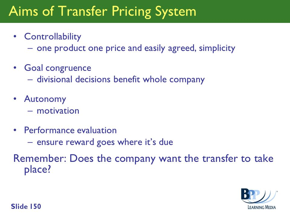Aims of Transfer Pricing System