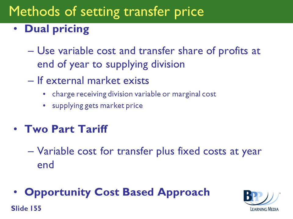Methods of setting transfer price