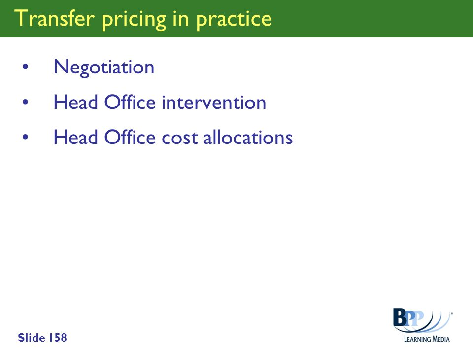 Transfer pricing in practice
