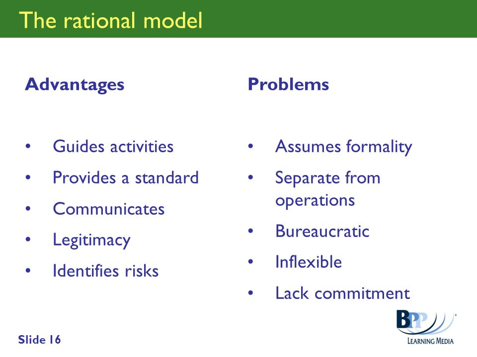 The rational model Advantages Guides activities Provides a standard