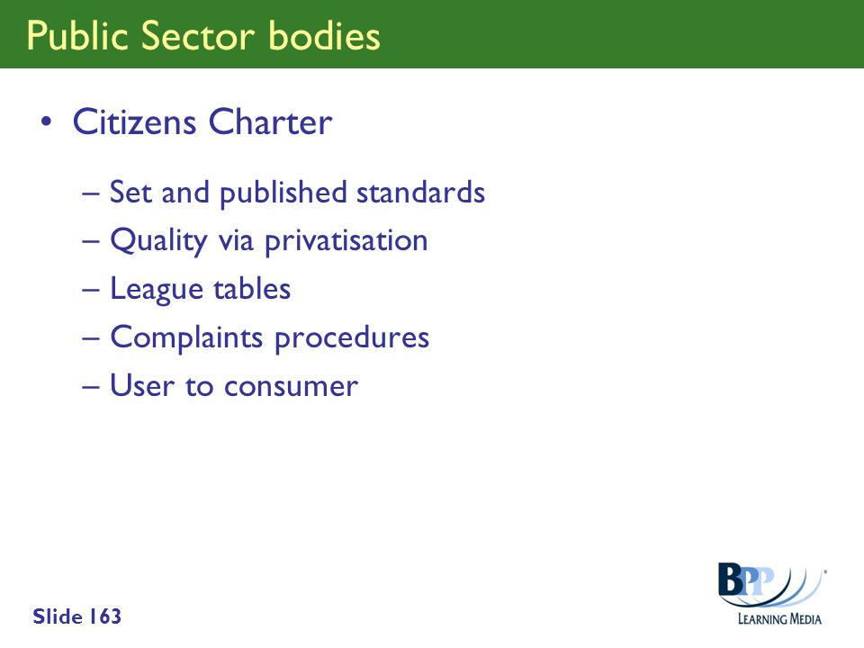 Public Sector bodies Citizens Charter Set and published standards