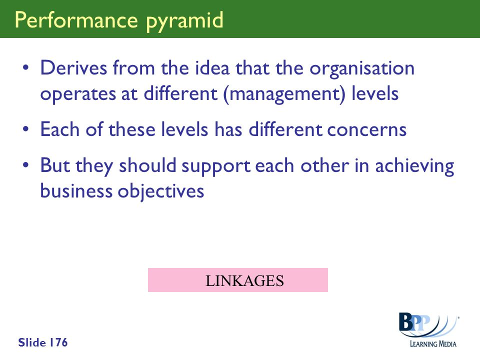 Performance pyramid Derives from the idea that the organisation operates at different (management) levels.
