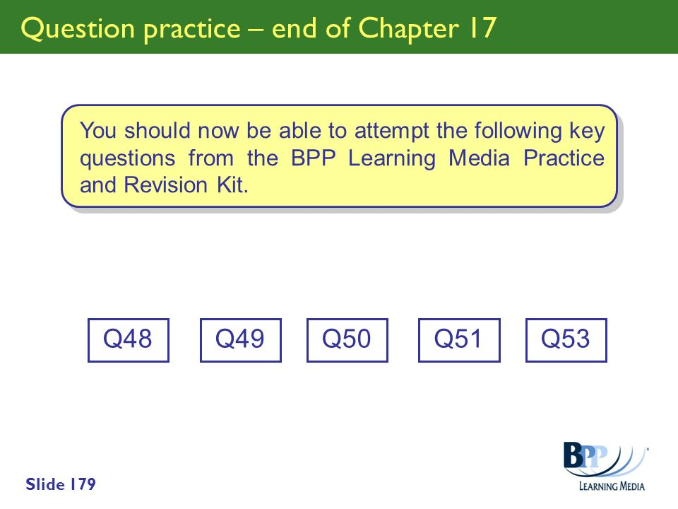 Question practice – end of Chapter 17