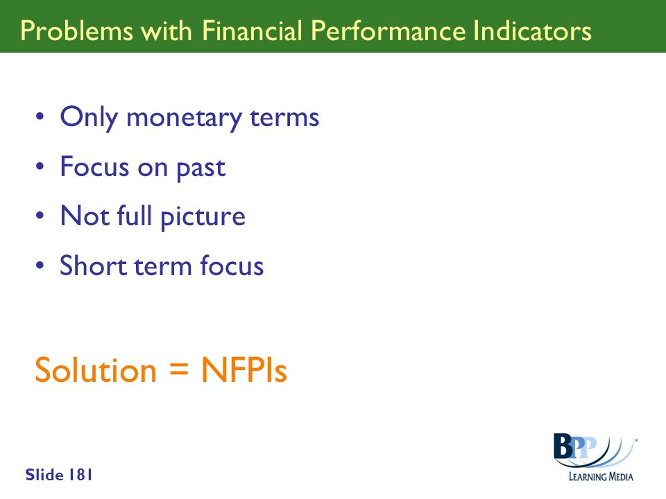 Problems with Financial Performance Indicators