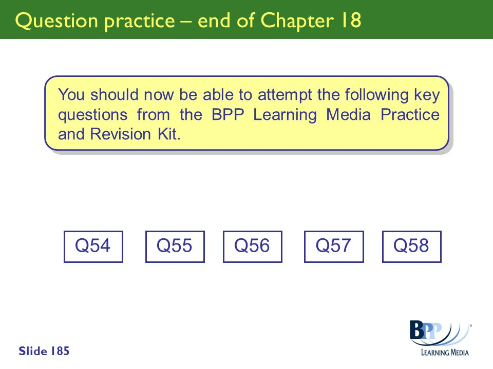 Question practice – end of Chapter 18