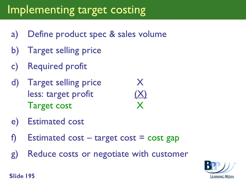 Implementing target costing