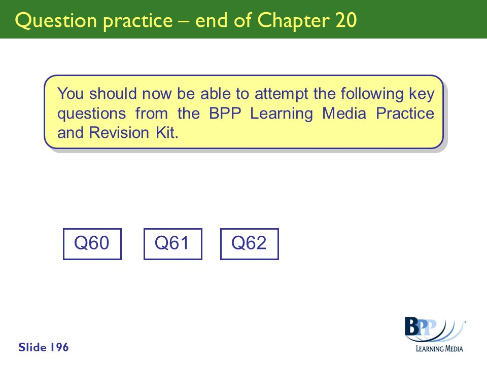 Question practice – end of Chapter 20