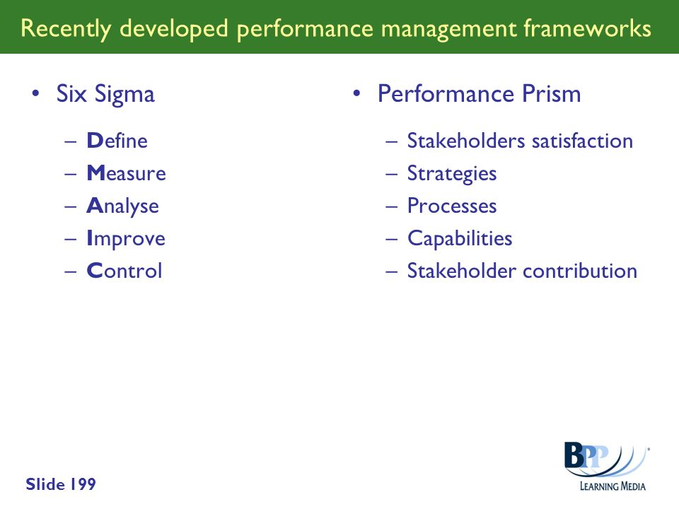 Recently developed performance management frameworks