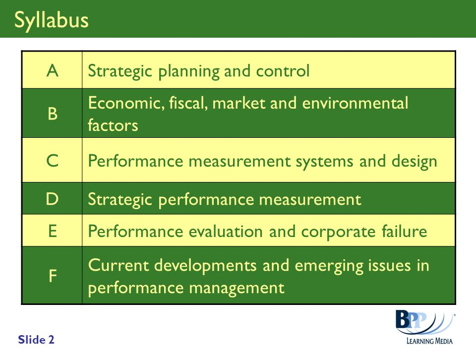 Syllabus A Strategic planning and control B